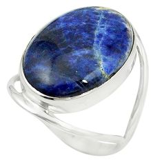 Natural blue sodalite 925 sterling silver ring jewelry size 9 m38152