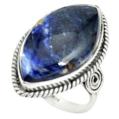 Natural blue sodalite 925 sterling silver ring jewelry size 8 m38169
