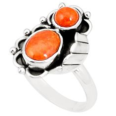 Natural red sponge coral 925 sterling silver ring jewelry size 8.5 m41654