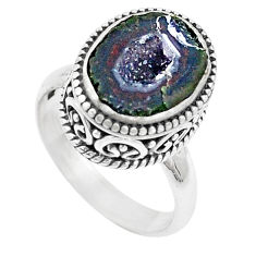6.10cts natural brown geode druzy 925 silver solitaire ring size 7.5 p18915