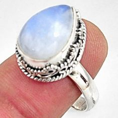 925 silver 6.80cts natural rainbow moonstone pear solitaire ring size 9 r10000