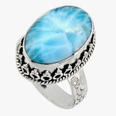 10.89cts natural blue larimar 925 silver solitaire ring jewelry size 7.5 r10001