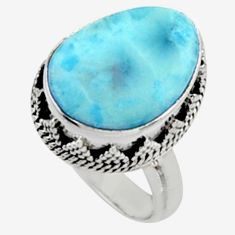 10.89cts natural blue larimar 925 silver solitaire ring jewelry size 7 r10003
