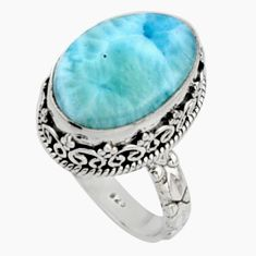 10.16cts natural blue larimar 925 silver solitaire ring jewelry size 8.5 r10005
