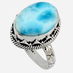 11.45cts natural blue larimar 925 silver solitaire ring jewelry size 8.5 r10006