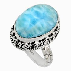 925 silver 10.54cts natural blue larimar solitaire ring jewelry size 7 r10009