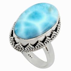 12.62cts natural blue larimar 925 silver solitaire ring jewelry size 8 r10012
