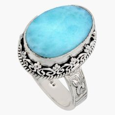 8.44cts natural blue larimar 925 silver solitaire ring jewelry size 8 r10017