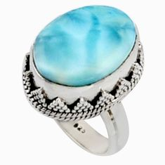 11.45cts natural blue larimar 925 silver solitaire ring jewelry size 7 r10018