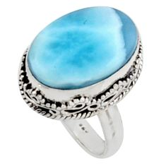 925 silver 14.20cts natural blue larimar solitaire ring jewelry size 8 r10019