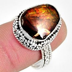 5.75cts natural multi color ammolite 925 silver solitaire ring size 7.5 r10266