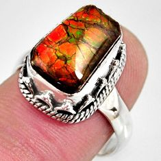 5.30cts natural multi color ammolite 925 silver solitaire ring size 7.5 r10271