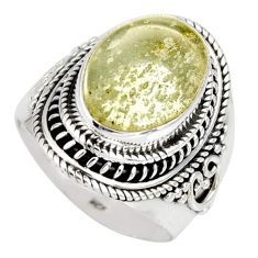 925 silver 6.80cts natural libyan desert glass solitaire ring size 7 r10280