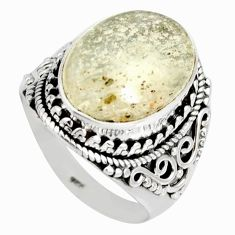 8.96cts natural libyan desert glass 925 silver solitaire ring size 8 r10281
