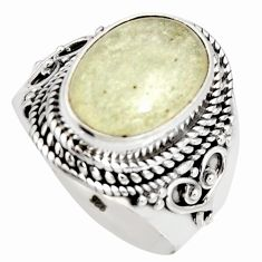 925 silver 6.96cts natural libyan desert glass solitaire ring size 9 r10284