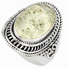8.96cts natural libyan desert glass 925 silver solitaire ring size 7.5 r10285