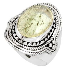 8.96cts natural libyan desert glass 925 silver solitaire ring size 7.5 r10286