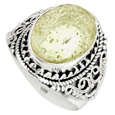 7.13cts natural libyan desert glass 925 silver solitaire ring size 8.5 r10288