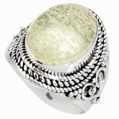 925 silver 8.70cts natural libyan desert glass solitaire ring size 7.5 r10290