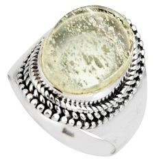 7.78cts natural libyan desert glass 925 silver solitaire ring size 8 r10292