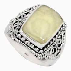 925 silver 6.02cts natural libyan desert glass solitaire ring size 9 r10295