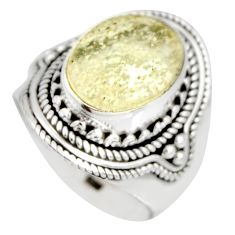 5.43cts natural libyan desert glass 925 silver solitaire ring size 7 r10298