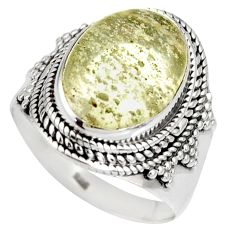 7.76cts natural libyan desert glass 925 silver solitaire ring size 9 r10300