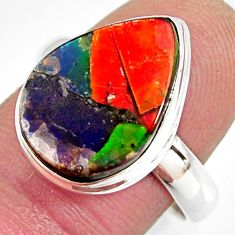 9.04cts natural ammolite triplets 925 silver solitaire ring size 8.5 r10303