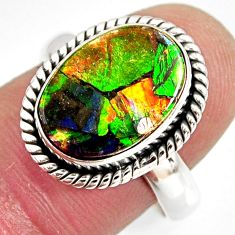 925 silver 6.32cts natural ammolite triplets solitaire ring size 7.5 r10304