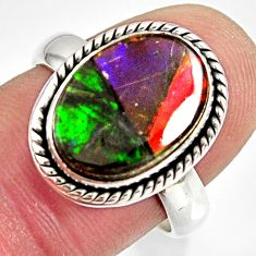 6.04cts natural ammolite triplets 925 silver solitaire ring size 7.5 r10305
