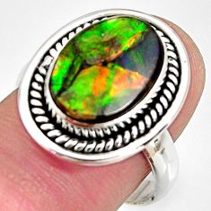 6.56cts natural ammolite triplets 925 silver solitaire ring size 8 r10306