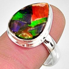8.91cts natural ammolite triplets 925 silver solitaire ring size 8.5 r10307