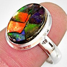 5.82cts natural ammolite triplets 925 silver solitaire ring size 8 r10308