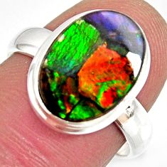 925 silver 5.82cts natural ammolite triplets oval solitaire ring size 7 r10309