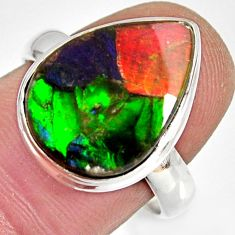 9.04cts natural ammolite triplets 925 silver solitaire ring size 8 r10310