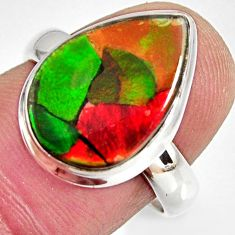 8.44cts natural ammolite triplets pear 925 silver solitaire ring size 7.5 r10312