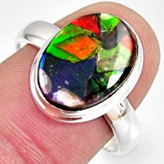 6.10cts natural ammolite triplets 925 silver solitaire ring size 8.5 r10313