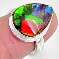 8.91cts natural ammolite triplets 925 silver solitaire ring size 6.5 r10314
