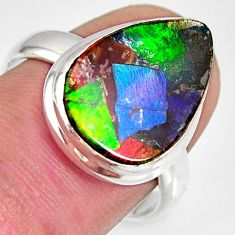 8.84cts natural ammolite triplets 925 silver solitaire ring size 8 r10315