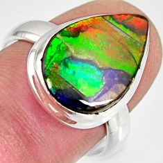 925 silver 9.29cts natural ammolite triplets pear solitaire ring size 8 r10316