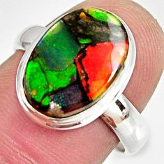 6.01cts natural ammolite triplets 925 silver solitaire ring size 7 r10317