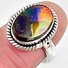 6.08cts natural ammolite triplets 925 silver solitaire ring size 7 r10318