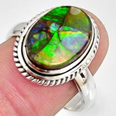 6.31cts natural ammolite triplets 925 silver solitaire ring size 8.5 r10319