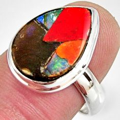 925 silver 9.04cts natural ammolite triplets pear solitaire ring size 8 r10320