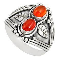 2.10cts natural orange cornelian (carnelian) 925 silver ring size 7.5 r10325