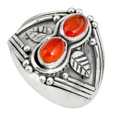 2.10cts natural orange cornelian (carnelian) 925 silver ring size 7 r10326