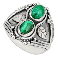 3.14cts natural green malachite (pilot's stone) 925 silver ring size 8 r10328