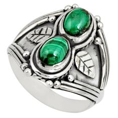 3.24cts natural green malachite (pilot's stone) 925 silver ring size 8 r10329