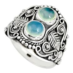 2.94cts natural aqua chalcedony 925 sterling silver ring jewelry size 8.5 r10331