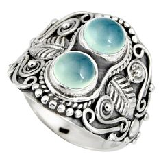 2.54cts natural aqua chalcedony 925 sterling silver ring jewelry size 8.5 r10333